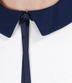 Bluza din jerse elastic uni cu guler