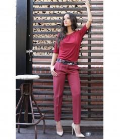 Pantaloni pana din stofa elastica cu buzunare