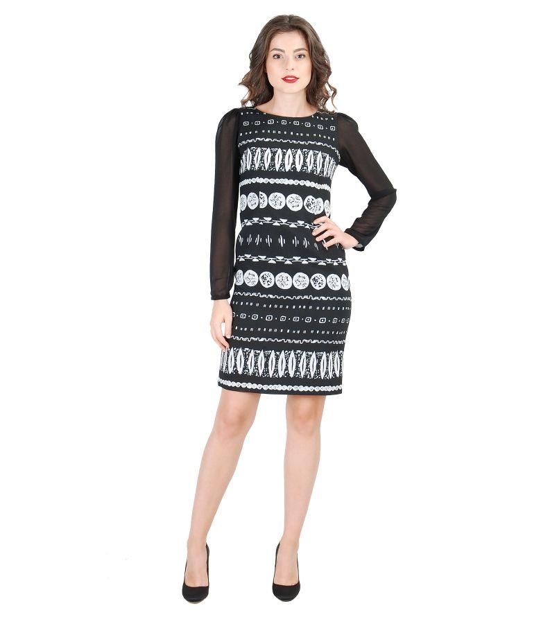 Rochie eleganta negru-alb din brocart elastic
