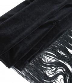 Sal din catifea elastica cu garnitura franjuri