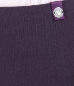 Fusta office conica din stofa elastica cu slit cu fermoar