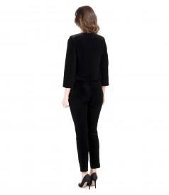 Pantaloni din catifea elastica neagra cu bolero
