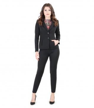 Costum office dama din stofa elastica cu buzunare
