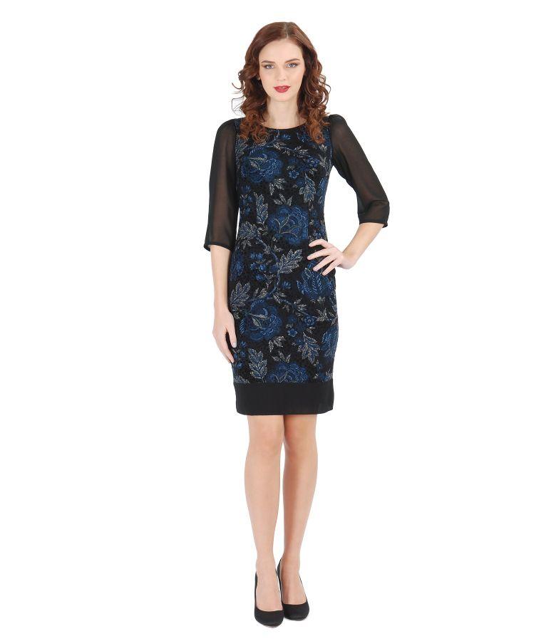 Rochie eleganta brocata cu catifea si voal