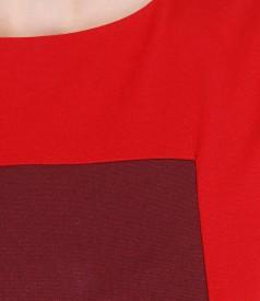Rochie din jerse elastic gros cu insertii