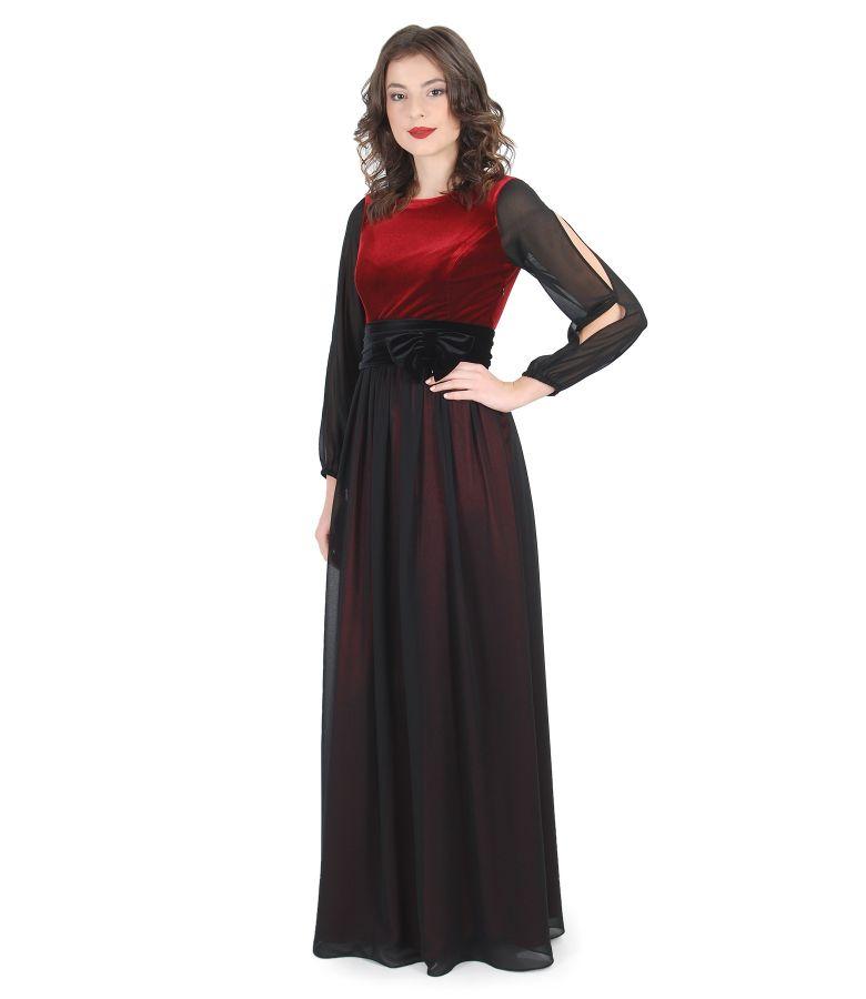 Rochie de seara lunga din catifea elastica si voal