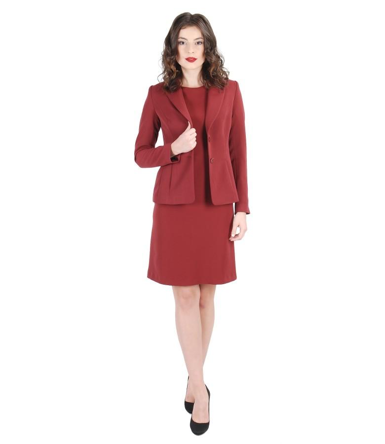 Costum office dama din stofa elastica cu rochie cu pliuri