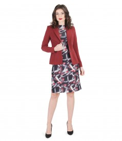 Rochie din jerse elastic imprimat cu sacou