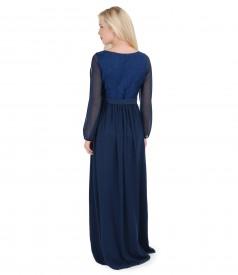 Rochie de seara lunga din brocart elastic si voal cu sal