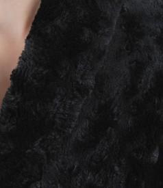 Palton din blana ecologica cu guler sal