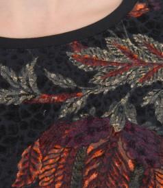 Tricou din jerse elastic brocat cu catifea