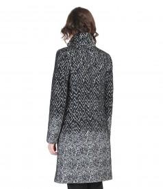 Palton din stofa imprimata cu lana