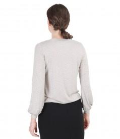 Tricou din jerse elastic imprimat cu garnitura