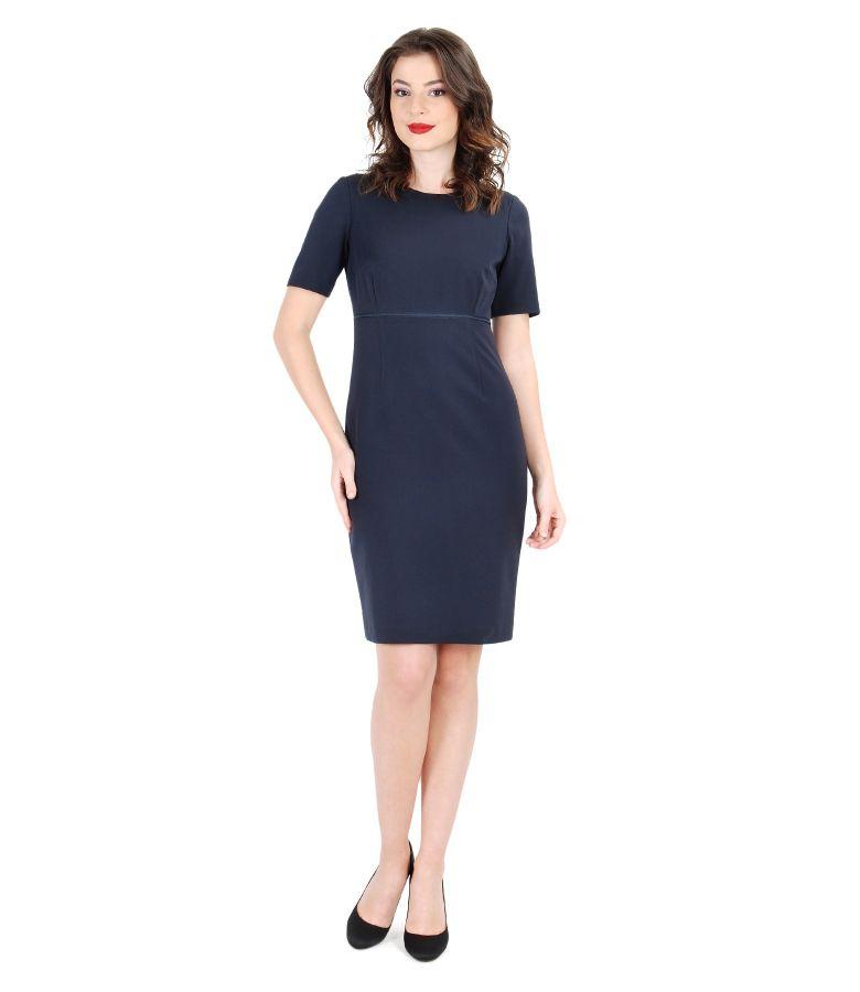 Rochie eleganta din stofa elastica cu garnitura