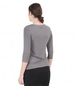 Bluza din jerse elastic imprimat