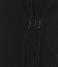 Rochie de seara din catifea elastica cu aplicatie de cristale
