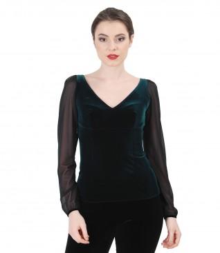 Bluza eleganta din catifea elastica cu maneci de tulle