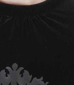Bluza din catifea elastica cu falduri si aplicatie