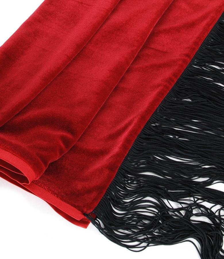 Sal din catifea elastica cu garnitura de saten si franjuri