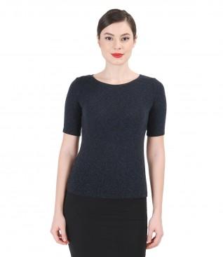 Tricou din jerse elastic cu lana