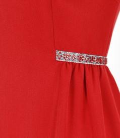 Rochie eleganta din stofa elastica cu pliuri si garnitura