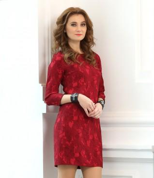 Rochie din brocart elastic imprimat