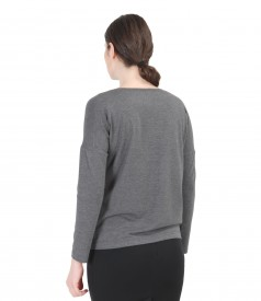 Bluza din jerse elastic cu maneci lungi