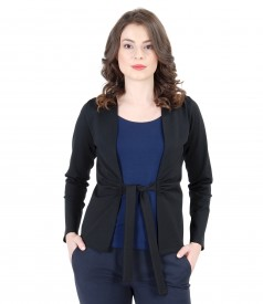 Bluza din jerse elastic legata cu cordon