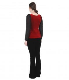 Tinuta eleganta cu bluza si pantaloni evazati din catifea elastica