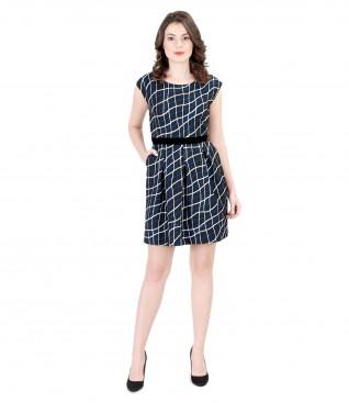 Rochie clos din brocart elastic cu garnitura