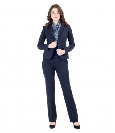 Costum office dama din stofa elastica cu garnitura
