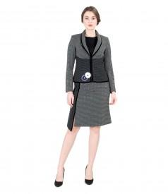 Costum office dama cu sacou si fusta asimetrica cu picouri