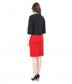Jacheta din brocart cu rochie din jerse elastic gros cu falduri