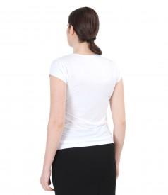 Tricou din jerse elastic cu falduri