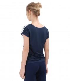 Bluza din jerse elastic cu fata brocata cu motive florale