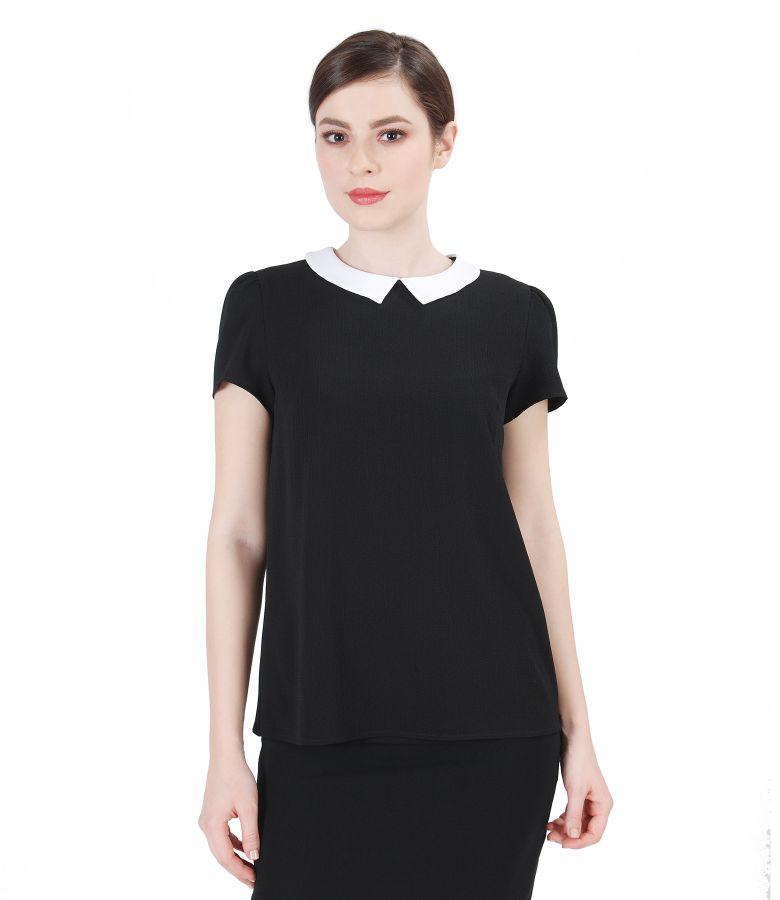 Bluza neagra din voal creponat cu guler
