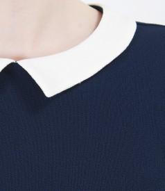 Bluza bleumarin din voal creponat cu guler