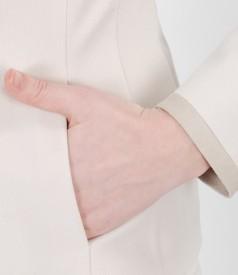 Sacou office cu buzunare si garnitura de piele ecologica