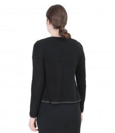 Bluza din dantela elastica cu lana