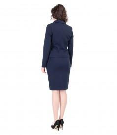 Costum office dama din jerse elastic gros bleumarin