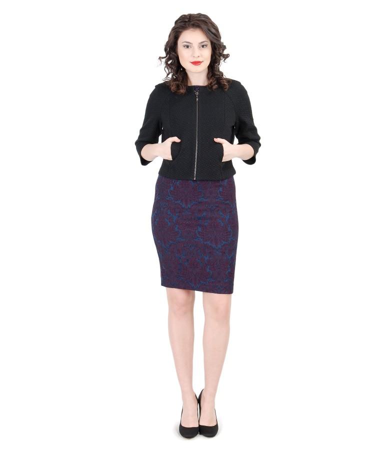 Rochie din brocart elastic cu jacheta cu fermoar