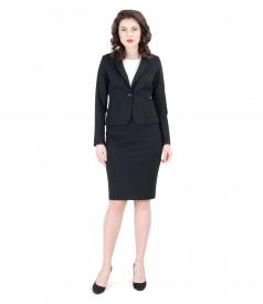 Costum office dama din jerse elastic gros negru
