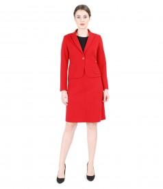 Costum office dama din jerse elastic gros rosu