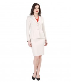 Costum office dama cu garnitura de piele ecologica