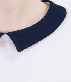 Bluza alba din voal creponat cu guler