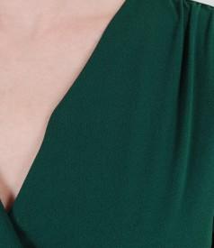 Rochie jerse verde cu catarama
