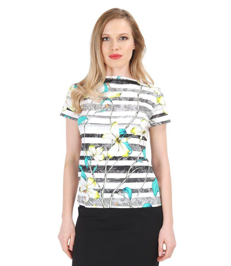 Tricou din jerse elastic cu imprimeu floral