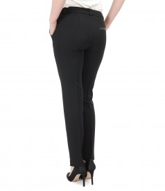Pantaloni pana din stofa elastica cu garnitura de piele ecologica