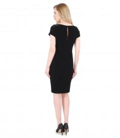 Rochie de seara scurta din catifea elastica neagra