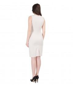 Rochie din stofa elastica cu garnitura de piele ecologica